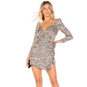 Melrose Mini Wrap Dress in Tan Leopard